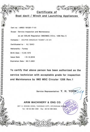Certificate of Boat DavitWinch & launching Appliances
